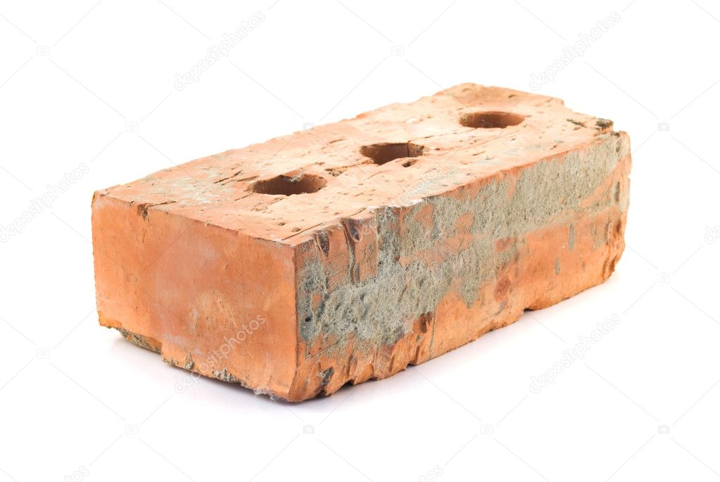 Red solid brick on a white background — Stock Photo #4976485