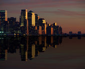 New york cityscape skyline at night, nyc, usa — Foto de Stock