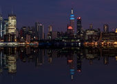 New york cityscape skyline at night, nyc, usa — Stock Photo