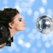 Stock Photo: Beautiful woman with disco ball