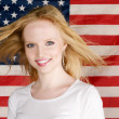Young Girl and american flag — Stok Fotoğraf #3958471