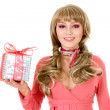 Beautiful woman portrait with gift box in hands — Stok fotoğraf