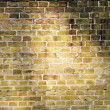 Photo: Brick wall lighted sun beams