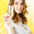 Young blonde woman with champagne glass — Stock Photo #3968101