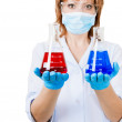 Doctor with test tubes — Stock Photo