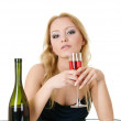 Elegant woman with wine in hands in cafe — Stock Photo