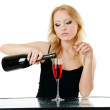 Blonde woman and wine - Stock Photo