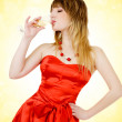 Stock Photo: Beautiful woman drinking champagne
