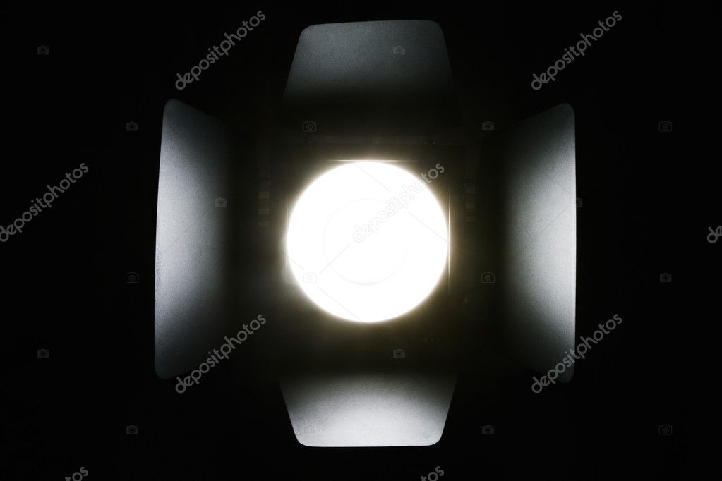 Photo studio flash lighting equipment on dark background  Stock Photo #3967148