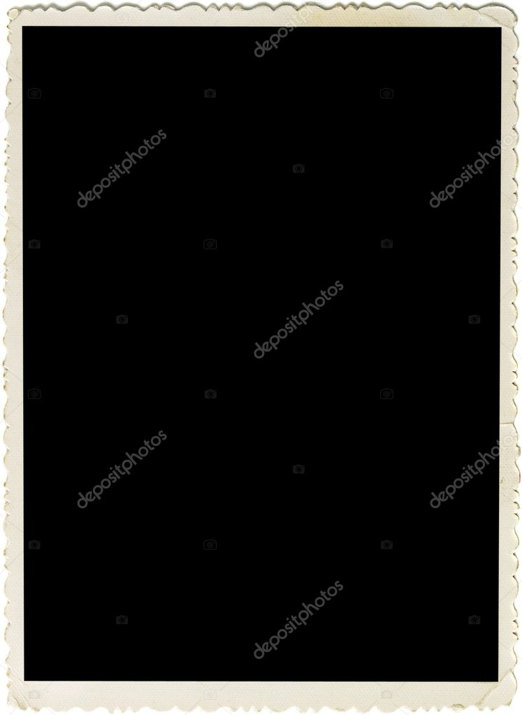 Retro photo frame with scalloped borders and copy space inside isolated on white background  Stock Photo #3967375