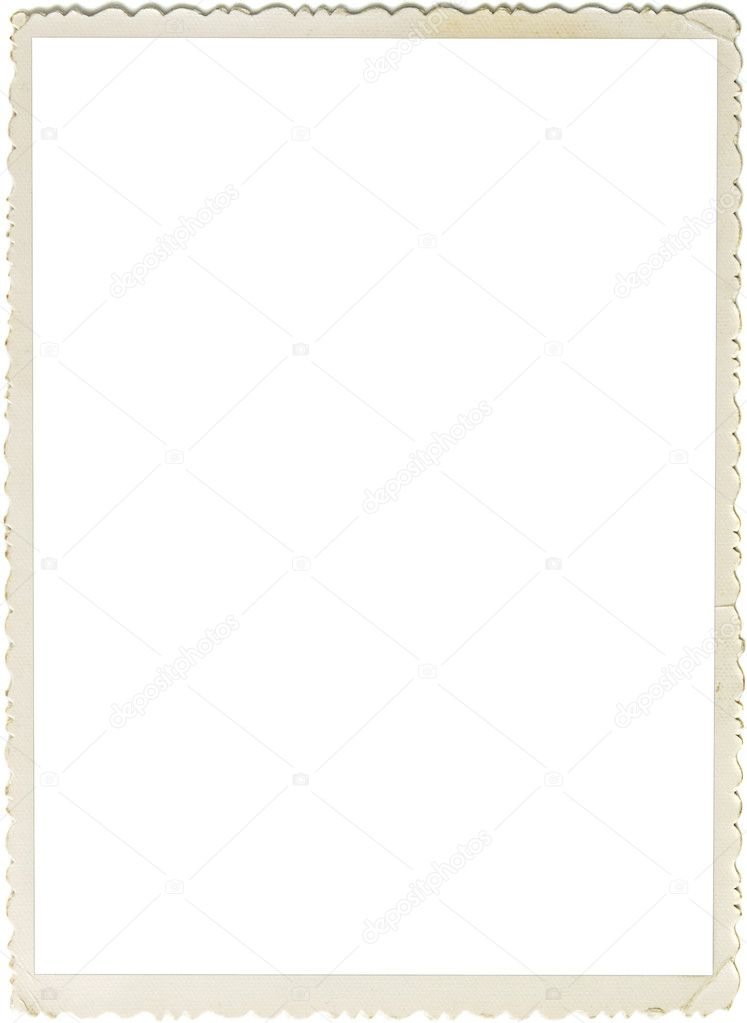 Retro photo frame with scalloped borders and copy space inside isolated on white background — Stock Photo #3967378