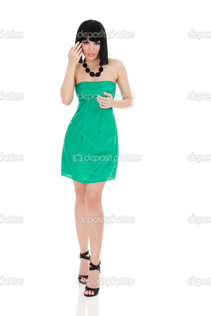 Portrait of beautiful young woman in mini dress isolated on white background — Stock Photo #3967892