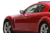 Active driving red sport car — Stock Photo