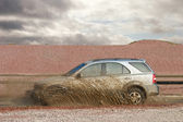 Off road car forces water — Stock Photo