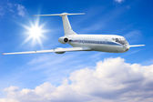 Airliner in sky — Stock Photo