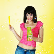 Yong woman blow bubbles — Stock Photo #4037122