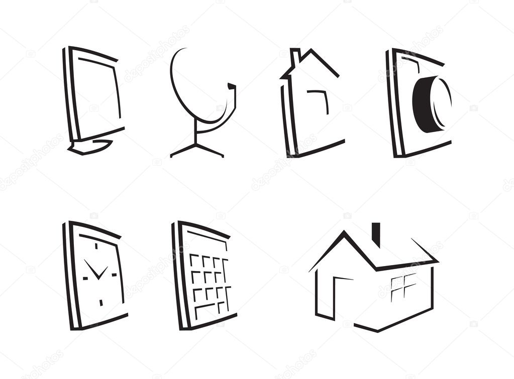 Set of seven computer icons  Stock Vector #4443033