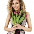 Woman with bouquet of tulips — Stock Photo #4634542