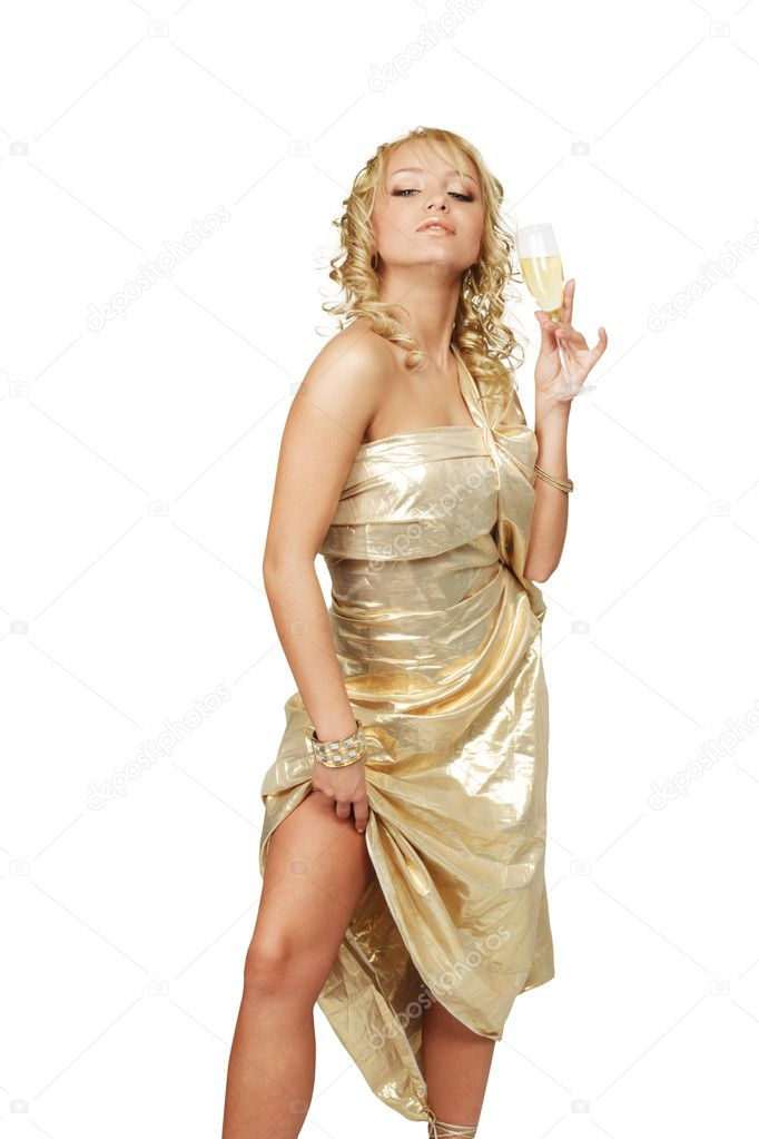 Young blonde beautiful woman with champagne glass  Stock Photo #4869850