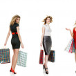 Set of shopping girls — Stock Photo