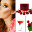 Woman eating cherry — Stock Photo