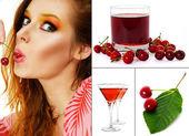 Woman eating cherry — Stock Photo