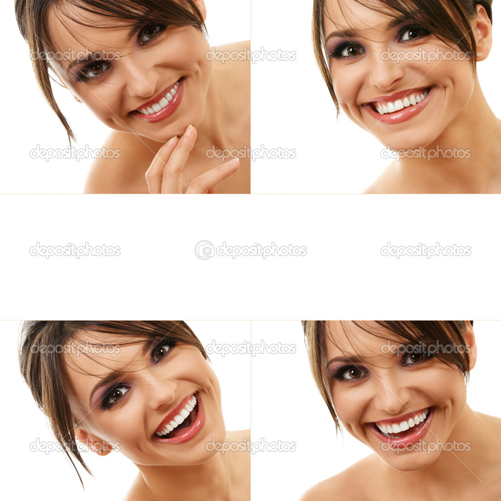 Design of happy smiling young woman face close-up with copyspace inside isolated on white background — Stock Photo #5234204