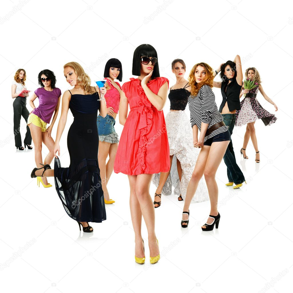 Group of young women. Collage isolated over white background  Stock Photo #5279160
