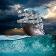 Sail ship in storm sea — Stock Photo