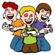 Video Game Addicted Kids - Stock Vector