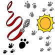 Dog Leash Pawprints - Stock Vector