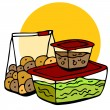 Stock Vector: Leftover Food Storage