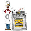 Stock Vector: Chef Cooking Using A Timer