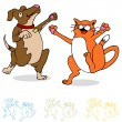 Dancing Cat and Dog — Stock Vector #5270352
