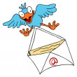 Stock Vector: Bird Delivering Email