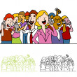 Royalty-Free Stock Vector Image: Crowd of Using Phones