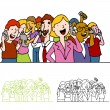 Stock Vector: Crowd of Using Phones