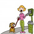 Using Pet Waste Bag Dispenser While Walking Dog - Stock Vector