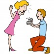 Stock Vector: Man Proposes to Woman