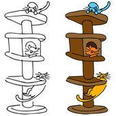 猫猫抓柱 — 图库矢量图片