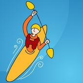 Rowing Kayak Man — Stock Vector