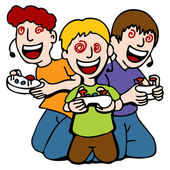 Video Game Addicted Kids — Stock Vector