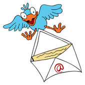 Bird Delivering Email — Stock Vector