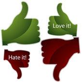 Love it Hate it Thumbs — Stock Vector