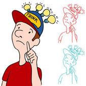 Thinking Cap — Stock Vector