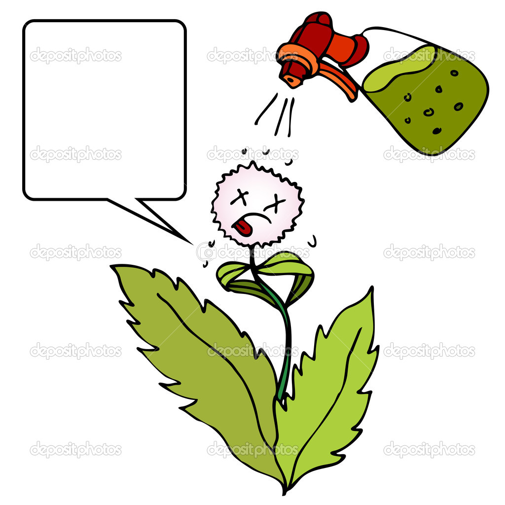 An image of a weed killer sprayed on a weed. — Stock Vector #5270279