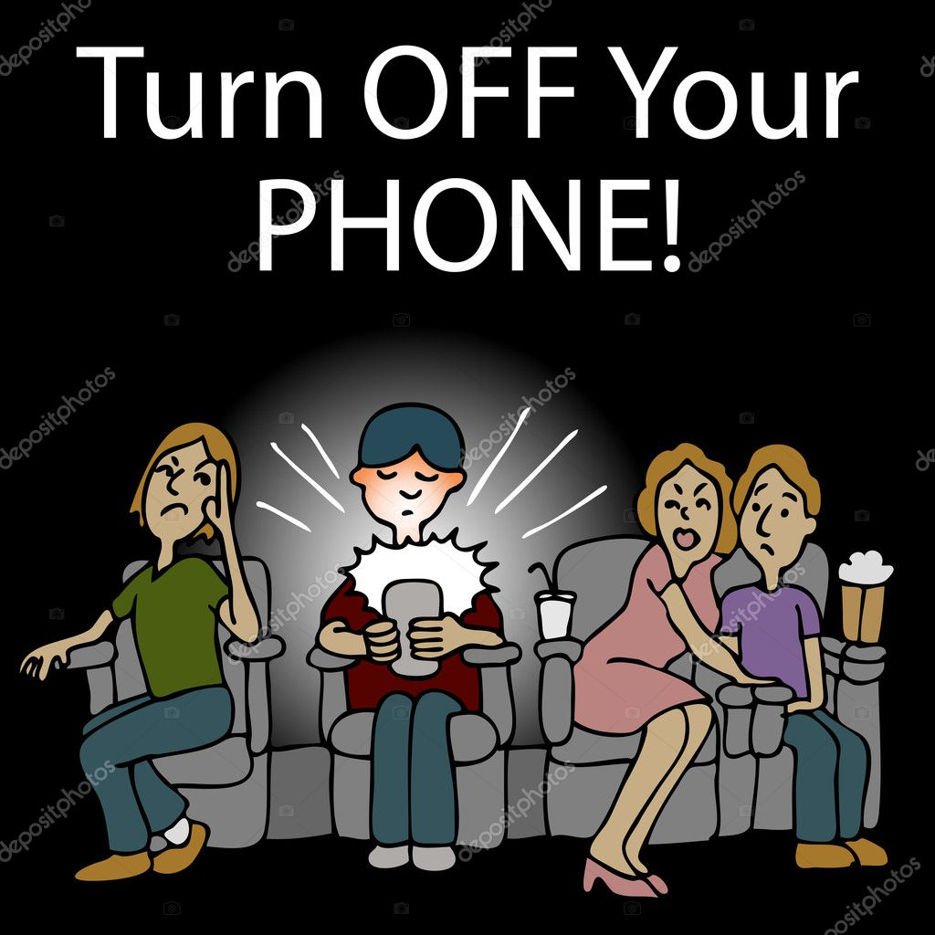 An image of a rude man texting on his smartphone in the movie theater. — Stock Vector #5270409