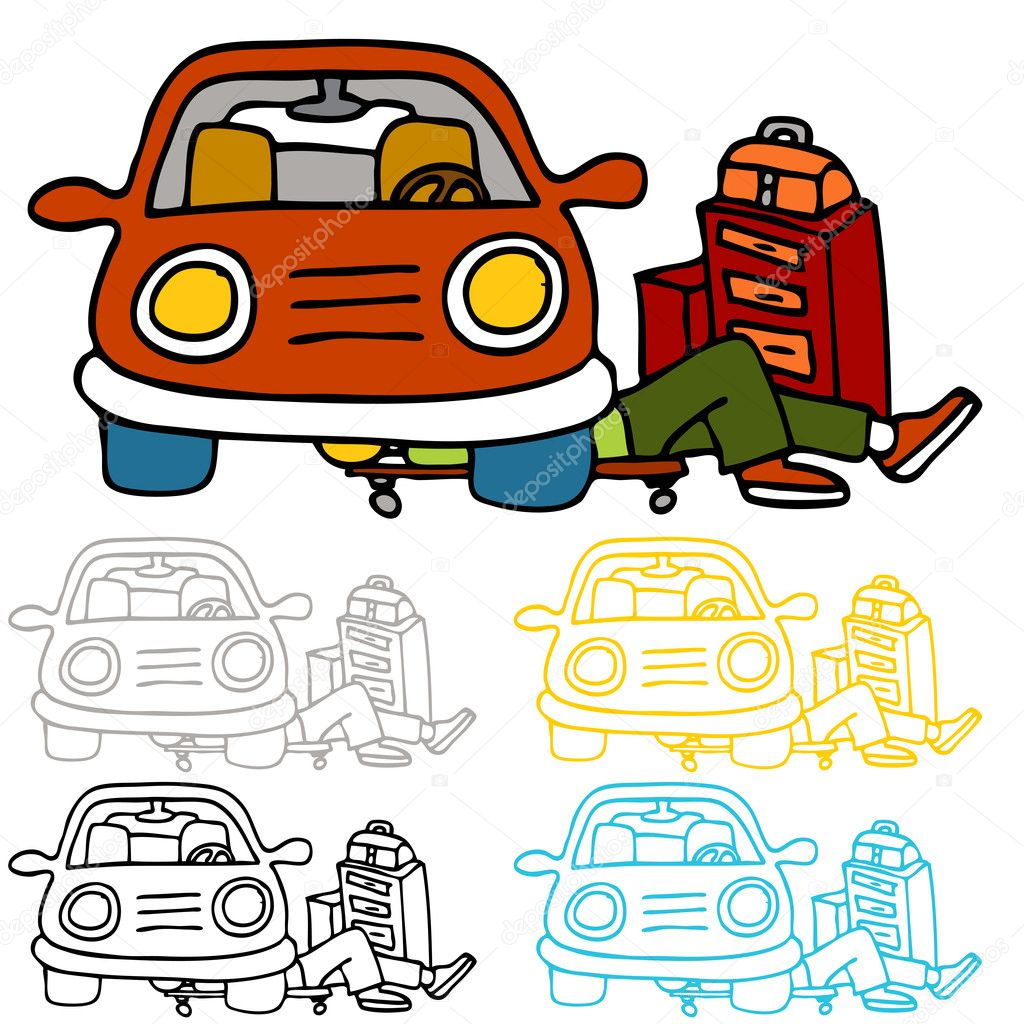 An image of a auto repairman underneath a car performing maintence work.  Stock Vector #5270419