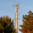 White Telecom Tower with Trees and Blue Sky — Stock Photo