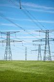电源线与蓝天和绿草 — 图库照片